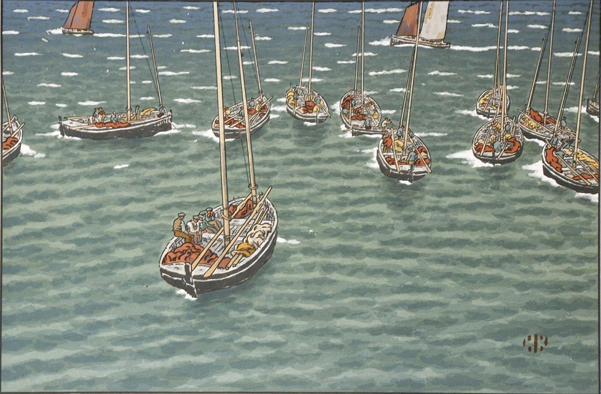 Bateaux au mouillage à Tréboul -Galerie Gregoire Courtois - Lithographie Henri Rivière à vendre