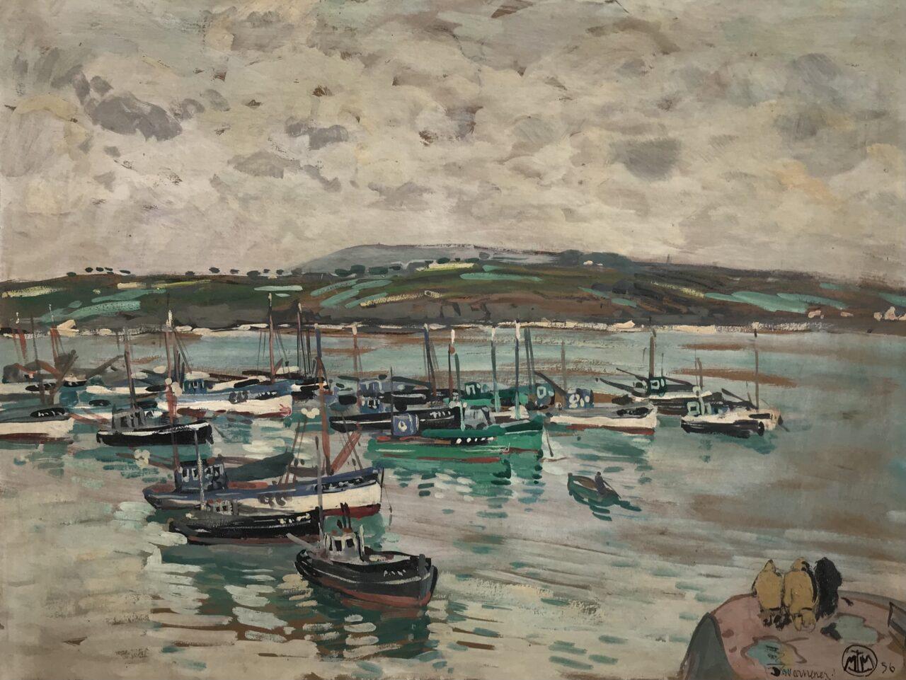 Mathurin Meheut (1882-1958) - Bateaux de pêche au mouillage